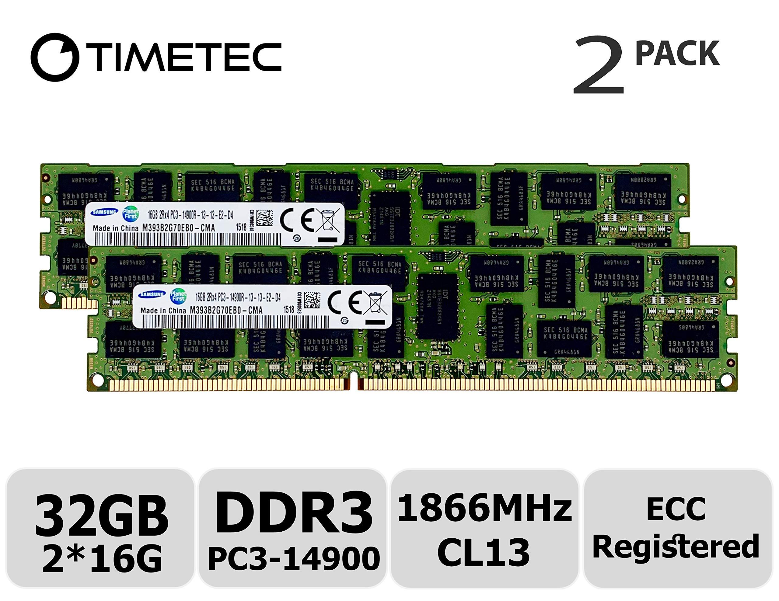 Memoria RAM 32GB Timetec Original M393B2G70EB0-CMA KIT (2x16GB) DDR3 1866MHz PC3-14900 Registered ECC 1.5V CL13 2Rx4 Dua