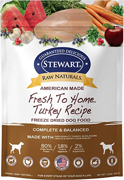Stewart Raw Naturals Freeze Dried Dog Food Grain Free Made In Usa With Turkey Fruits Vegetables For Fresh To Home All Natural Recipe Trial Size Pet Supplies