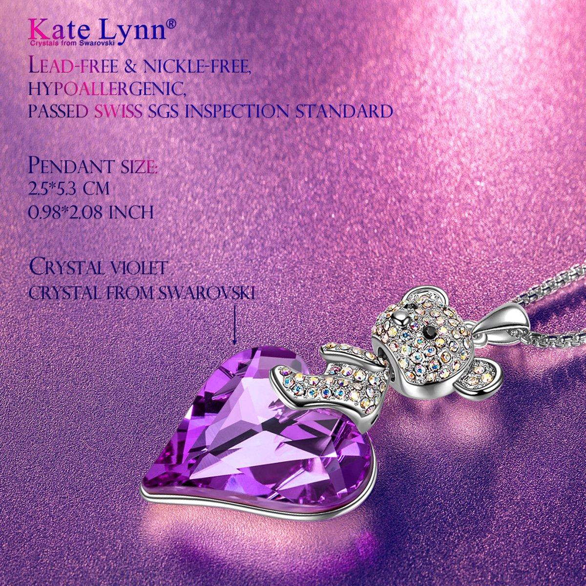 Amazon.com: KATE LYNN Women Teddy Bear Necklace Swarovski Crystals ...