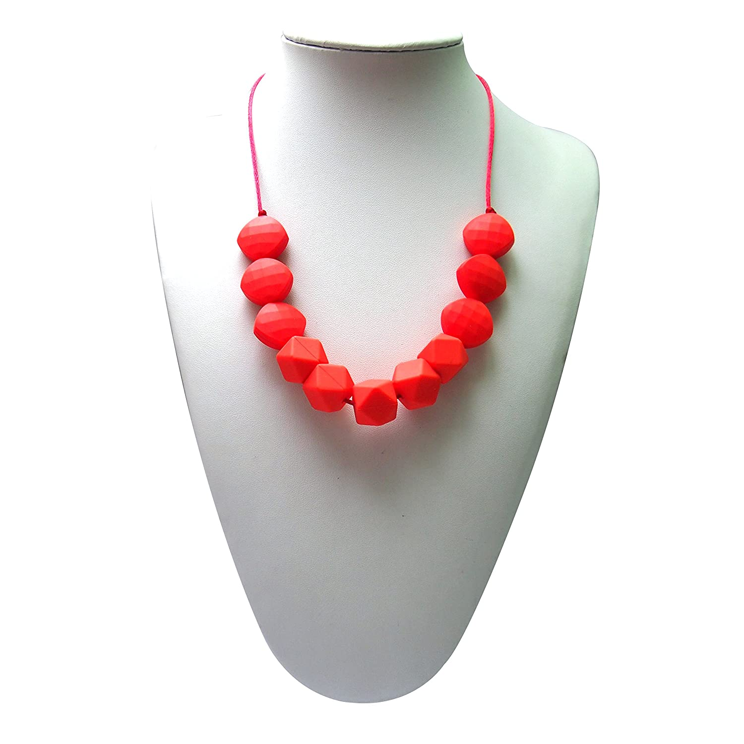 Lil' Jumbl Baby Teething Necklace | Organic Food Grade Silicone | BPA-Free (Red)