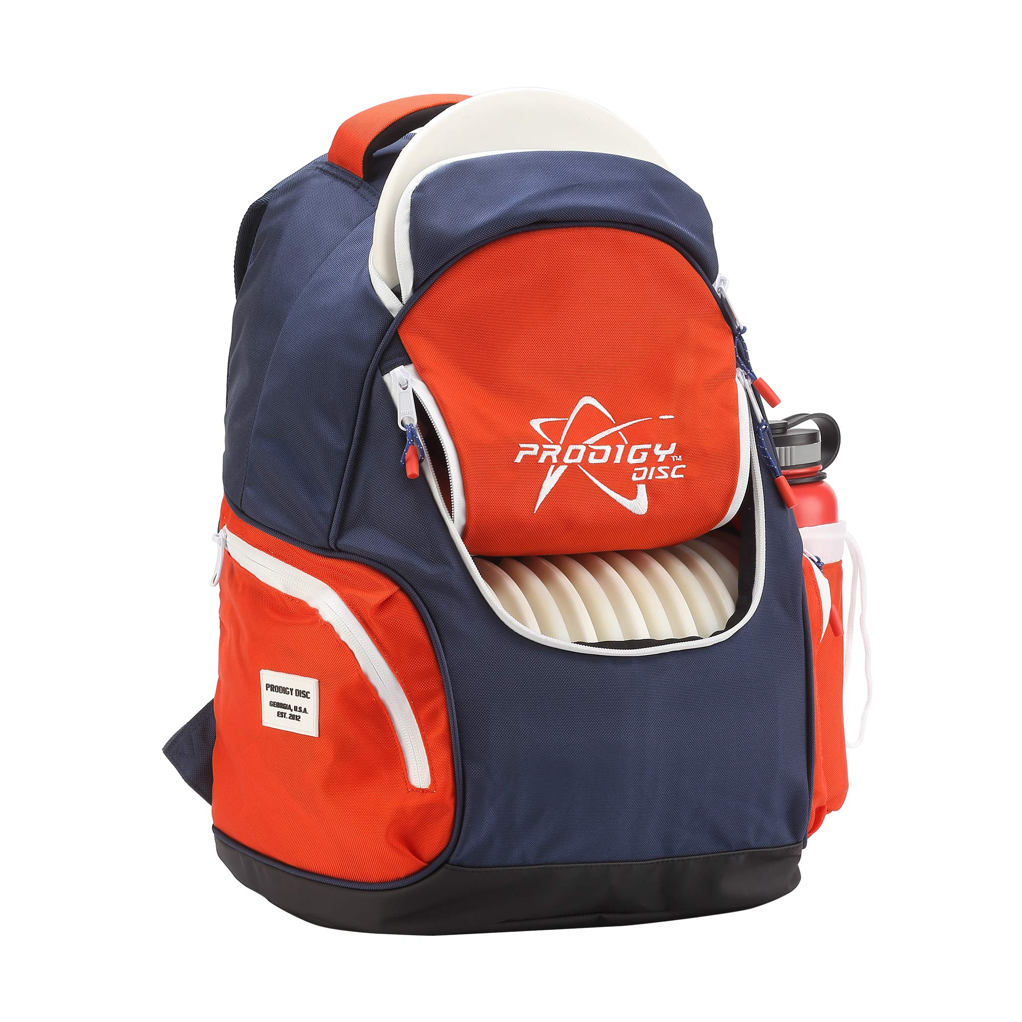 Prodigy Disc BP-3 V2 Disc Golf Backpack - Fits 17 Discs - Beginner Friendly, Affordable (Blue/Red) by Prodigy Disc