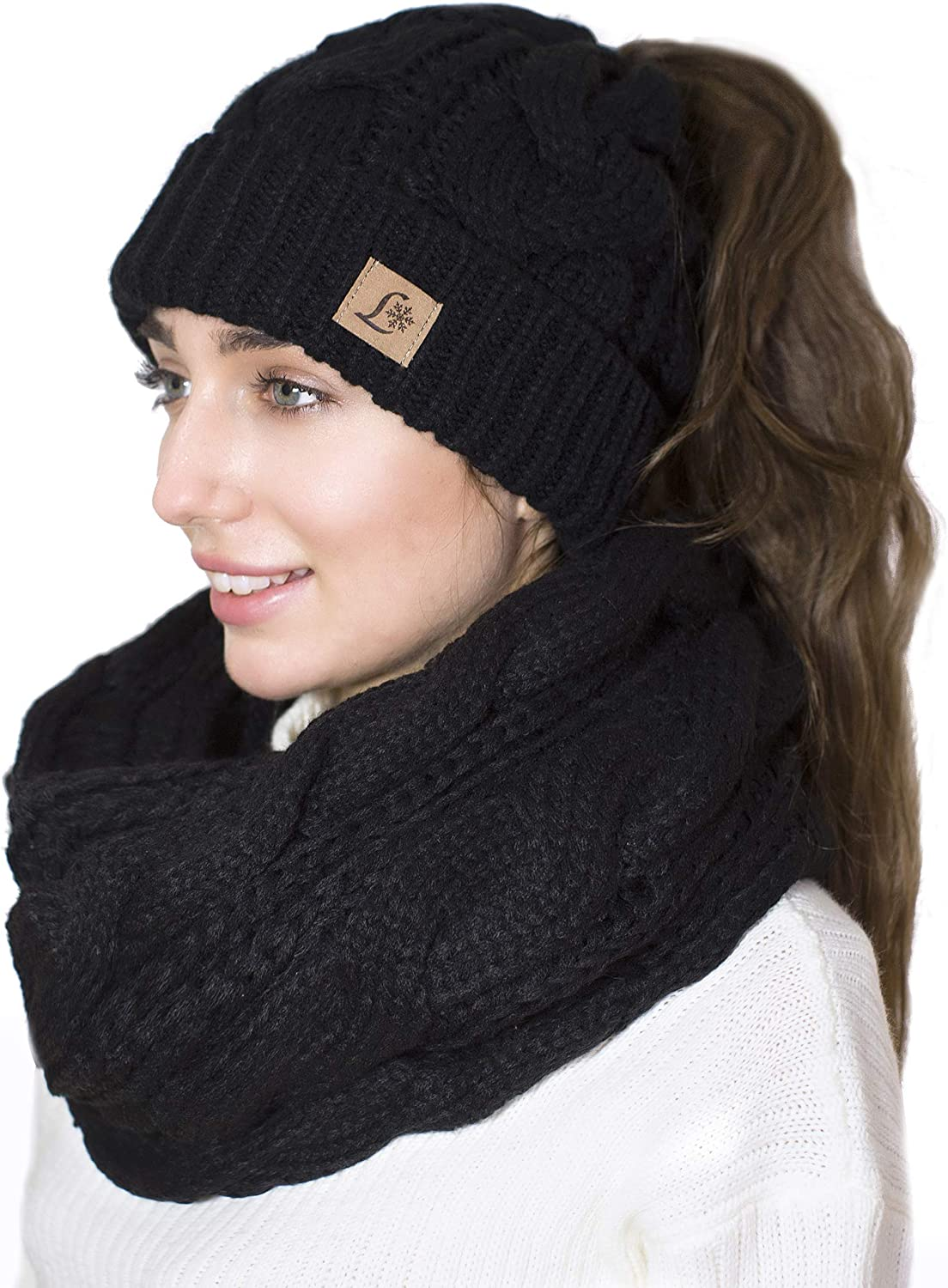 Gifts for her Hiking Skater Style Skiiing Messy Bun Hat Winter Wear Pony Tail Beanie Trailriding Snowboarding Hat Valentines Day