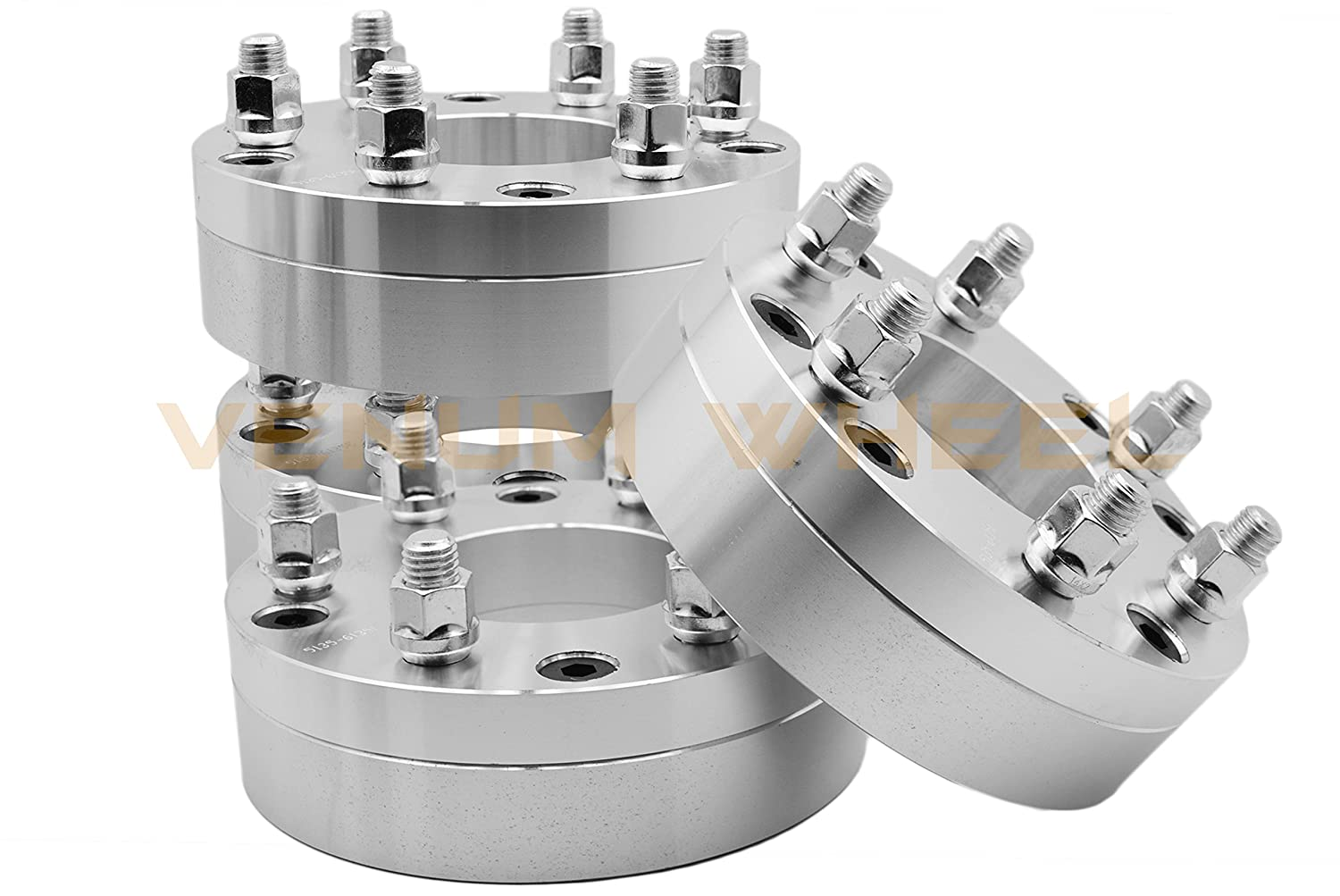 4 Pc Ford 5x135 MM To 6x135 MM 5 To 6 Lug Wheel Spacers Adapters Conversion Bolt On 2' Thick 5 Lug Wheels on 6 Lug Trucks 6x135 Wheels On 5x135 Trucks Heavy Duty 2 Piece Adapters Venum Wheel Accessories