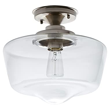 Stone & Beam Schoolhouse Semi-Flush Mount Ceiling Fixture With Light Bulb And Clear Glass Shade - 11 x 11 x 10.5 Inches, Brushed Nickel