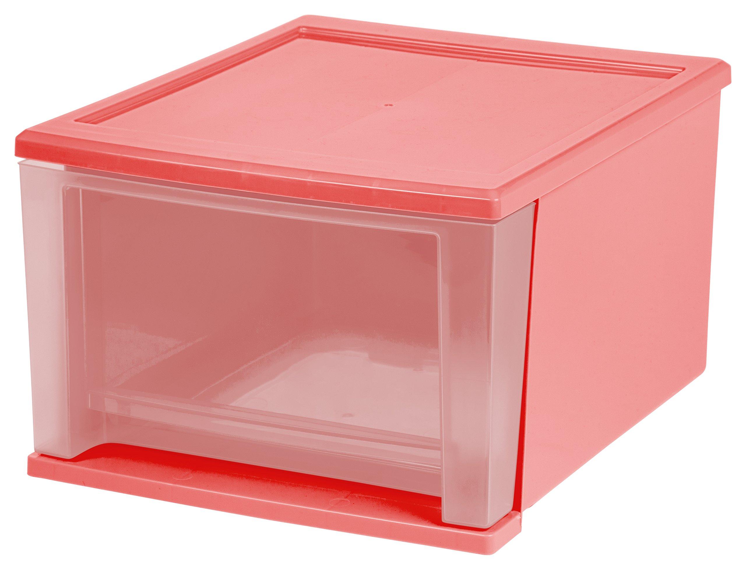 IRIS USA 129978 17 quart Stacking Drawer, Pink