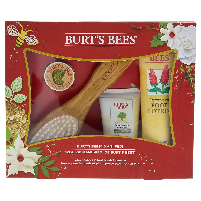 Burt's Bees Mani Pedi Holiday Gift Set, 4 Hand & Feet Products – Hand Cream, Cuticle Cream, Foot Lotion and EcoTools Foot Brush & Pumice Burt's Bees 89926-24