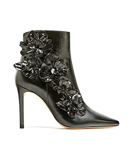 8aedcd8d6f3 Zara Women High heel ankle boots with floral trims 6076 201 (39 EU ...