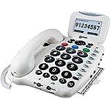 Geemarc Telecom CL555 Téléphone multifonction avec Répondeur guide vocale pour Senior/Malentendant/Malvoyant Blanc