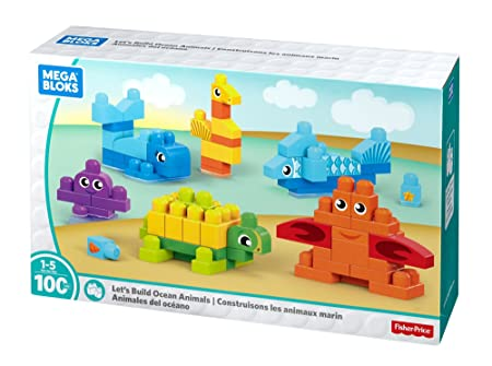 Amazon.com: Mega Bloks Let's Build Ocean Animals Building Blocks ...