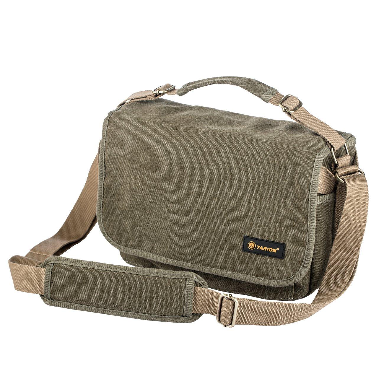 TARION RS-01 Camera Bag Photography Single Shoulder Bag Vintage Water Repellent Canvas Case Bag for DSLR Camera Mirrorless Camera Green