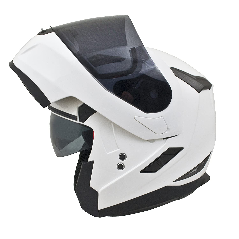 MT Flux Motorbike Motorcycle Flip Up Front DVS Helmet Solid White L 59-60cm