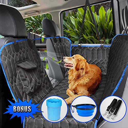 Upgraded Version Dog Seat Cover for Back Seat, 100 Waterproof with Mesh Window, Scratch Proof Nonslip Dog Car Hammock, Car Seat Covers for Dogs, Dog Backseat Cover for Cars Trucks SU