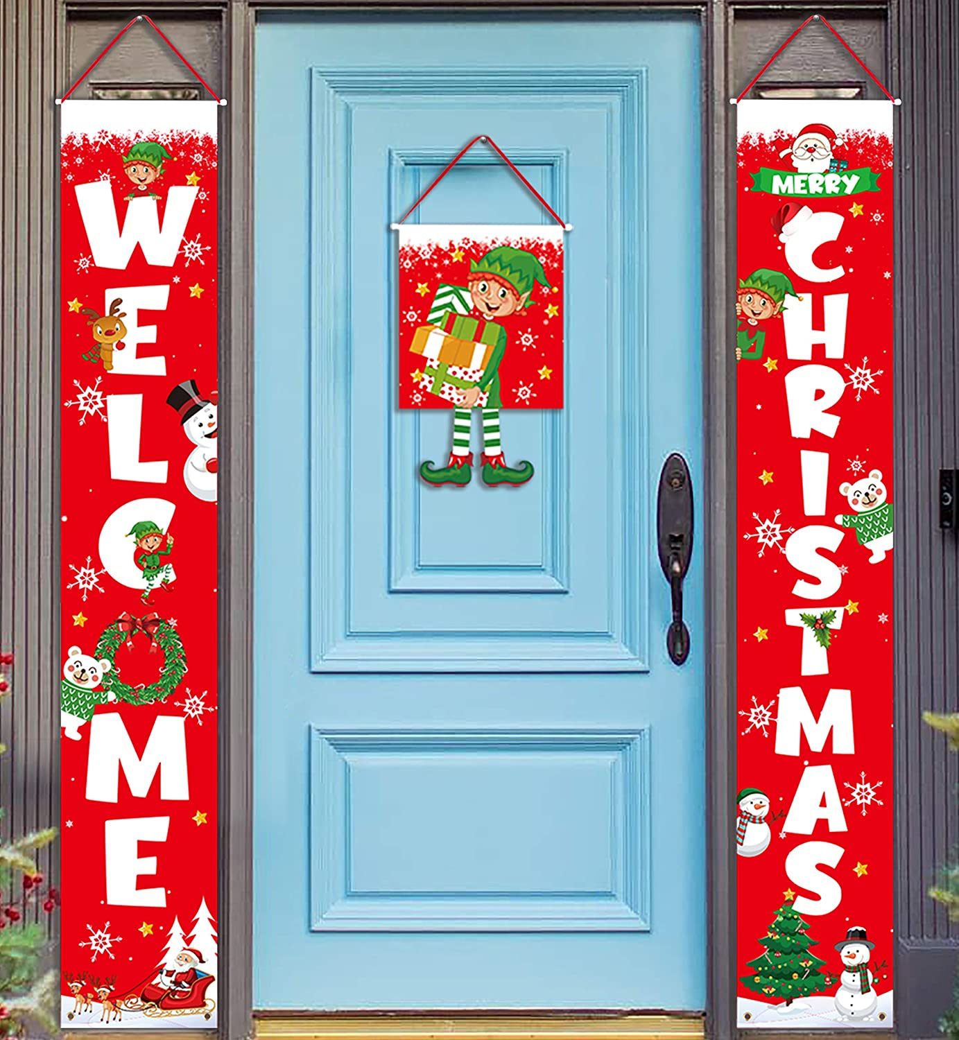 3 Pieces Christmas Decorations Banner - Welcome Christmas Porch Sign Elf Decor Xmas Hanging Front Door Indoor Outdoor Holiday Party Supplies