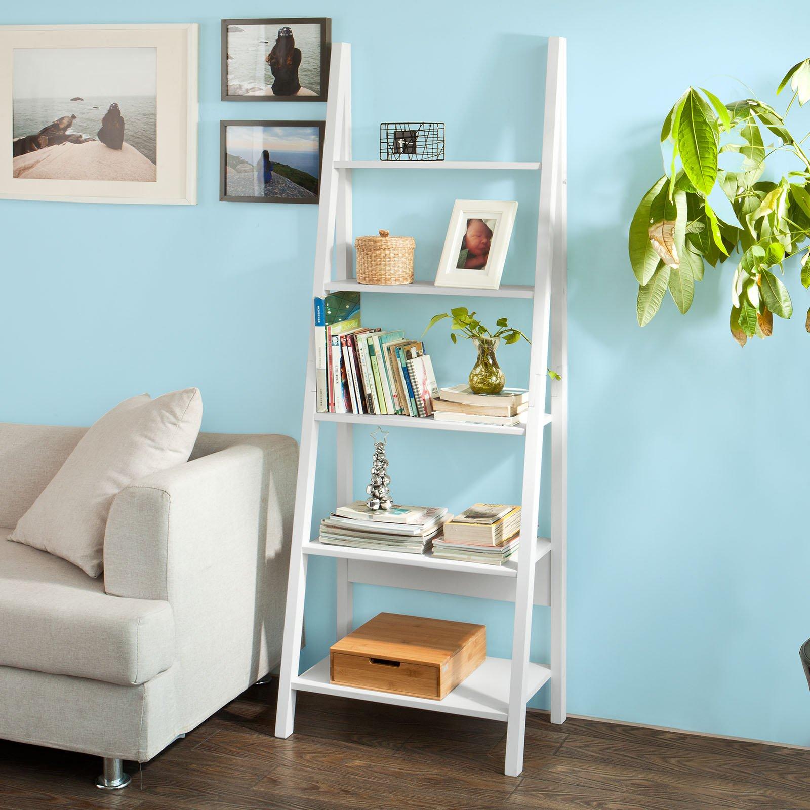 Haotian FRG61-W, Modern 5 Tiers Ladder Shelf Bookcase, Wood Storage Display Shelving, Wall Shelf, W64xD39xH180cm, White by Haotian