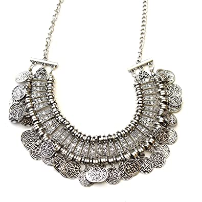 110cdfcc243 Shining Diva Fashion Jewellery Bohemia Gypsy Tibetan Vintage Coin Necklace  for Girls & Women(Silver)(8547np): Amazon.in: Jewellery