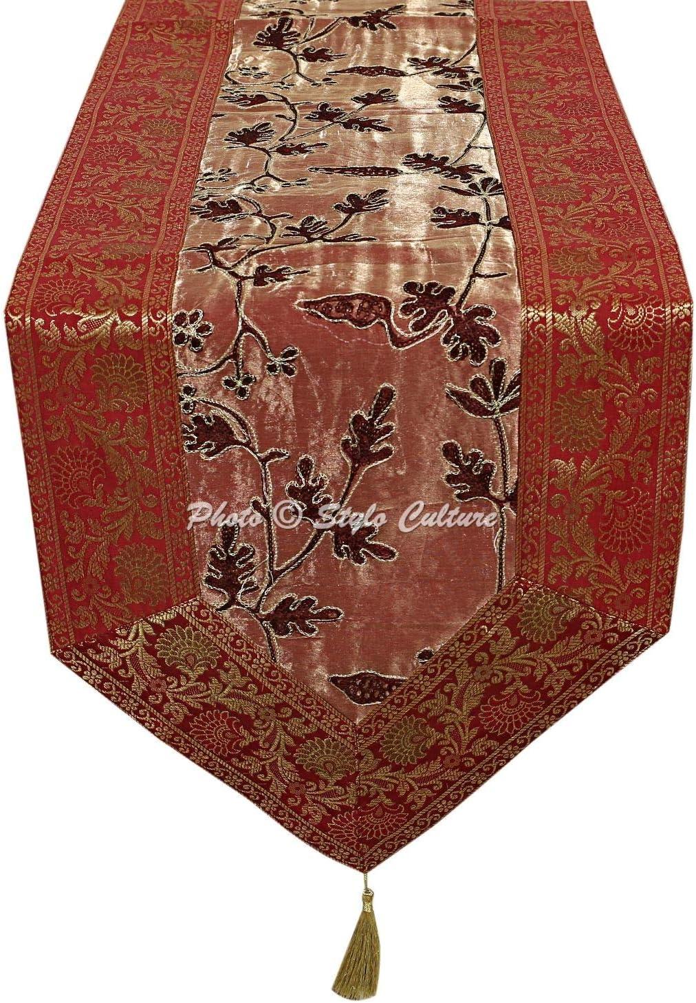 Stylo Culture Etnico Decorativo Runner da Tavolo Elegante Blu Ricamato Ari Zari Viola Arredamento della Cucina Broccato Nappa Floreale Tessuto per Tessuti / 180 x 35 cm 72x14 Pollici