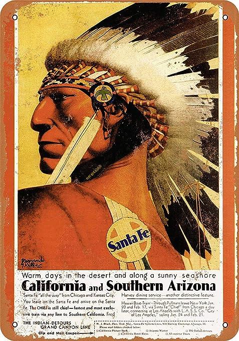 Shunry Santa Fe Railroad Placa Cartel Vintage Estaño Signo ...