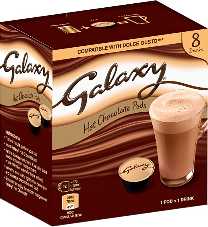 Galaxy Hot Chocolate – cápsulas compatibles con Dolce Gusto – Caja ...
