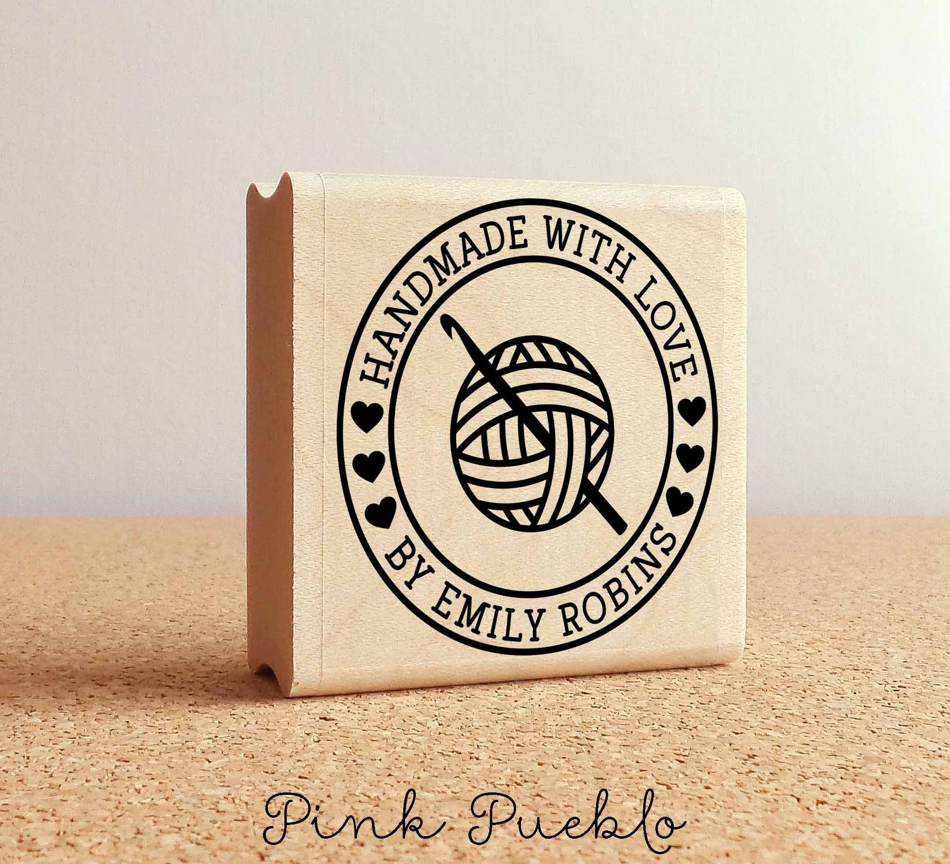 Personalized Crochet Rubber Stamp, Handmade with Love Crochet Yarn Stamp