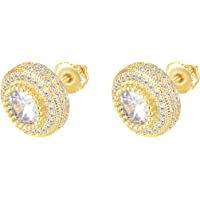 18K Gold Plated 925 Sterling Silver Iced Out Cubic Zirconia Screw Back Square Stud Earring For Men and Women Hypoallergenic Earring TwoTone Micropave Hip Hop Jewelry CHARLINLIOL