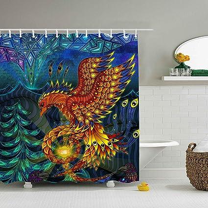 Amazon.com: Una Stowe Shower Curtain Set Golden Phoenix Bath ...