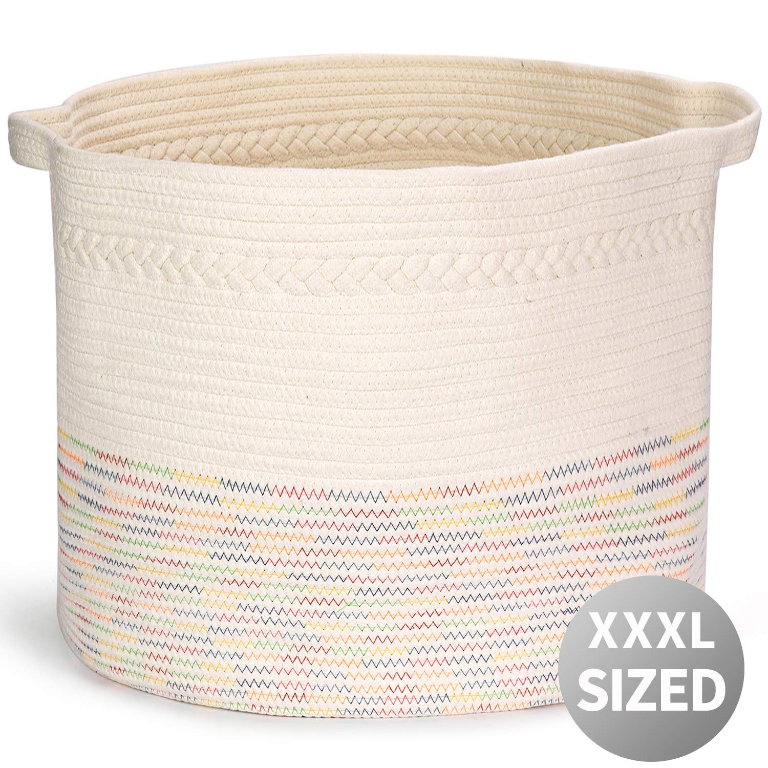 Extra Large Cotton Rope Storage Basket with Handles 22'' x 22'' x 14'' ,Blanket Storage Baskets, Laundry Basket, Toy Storage, Nursery Hamper,Colorful Storage Baskets,Suitable for Warm Home Decor by NEWRX