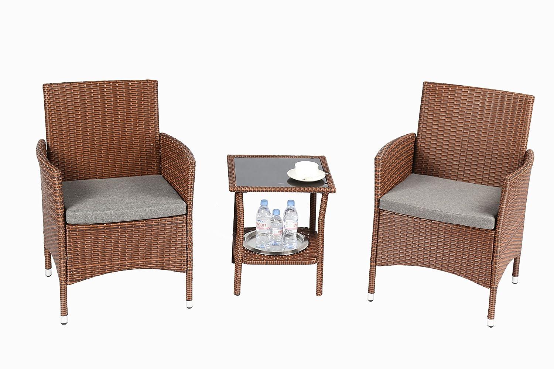 Q16 Black Baner Garden 3 Pieces Outdoor Furniture Complete Patio Cushion PE Wicker Rattan Garden Dining Set Full