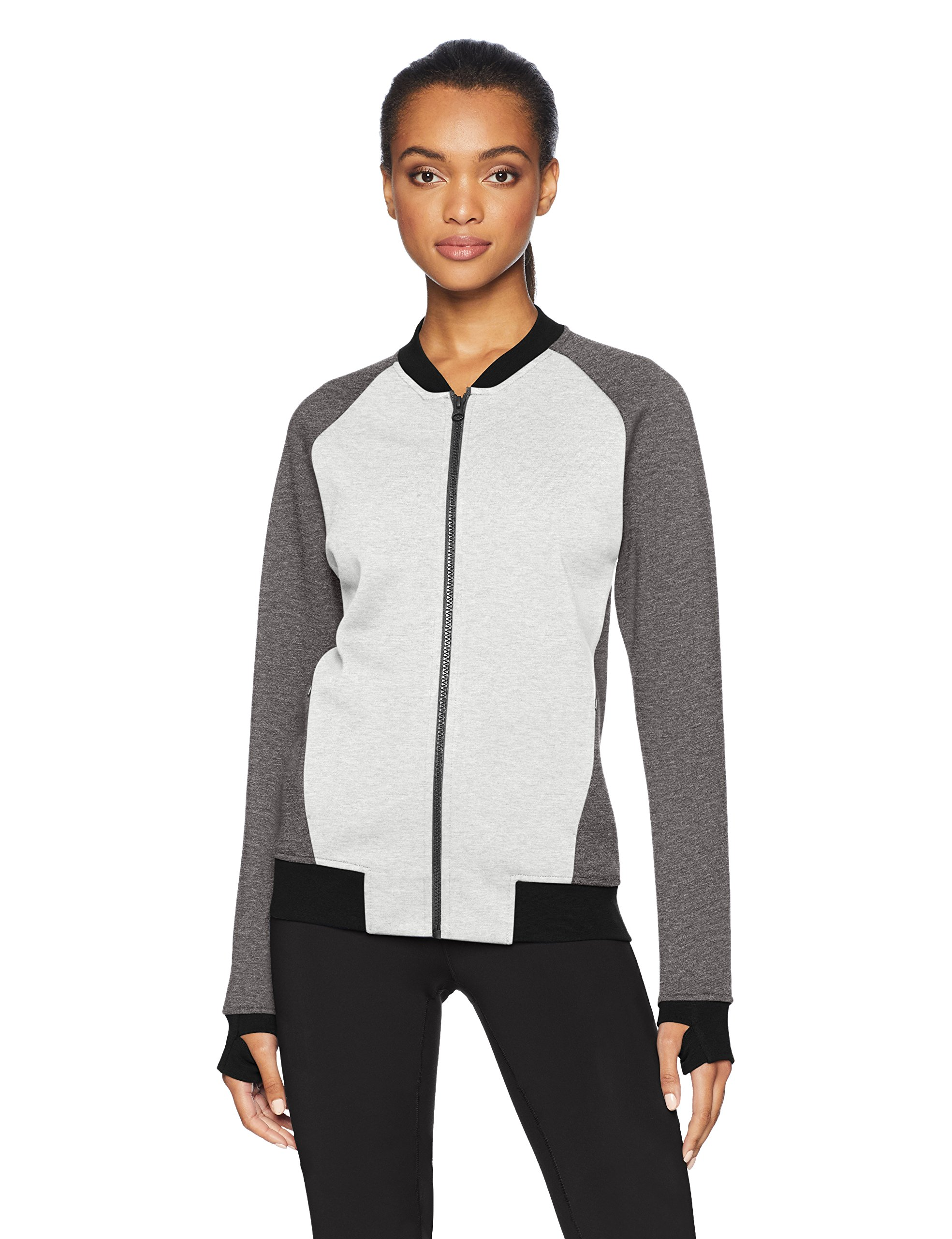 Core 10 Women's  Motion Tech Fleece Fitted Bomber Full-Zip Jacket, Light Grey Heather/Medium Grey Heather/Black, S (4-6)
