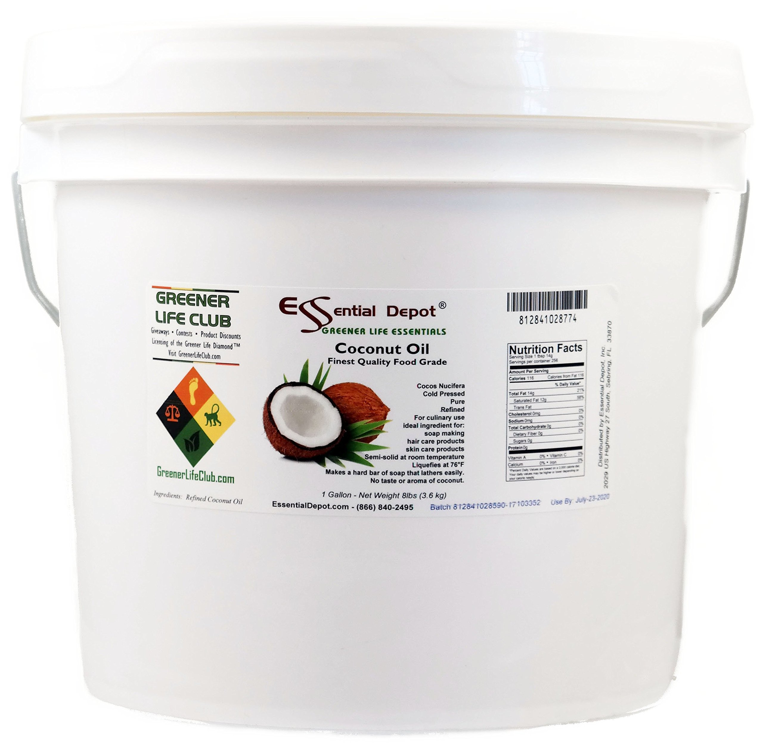 ESSENTIAL DEPOT Coconut Oil - Finest Quality Food Grade - 8 lbs - In Pail - 1 Gallon