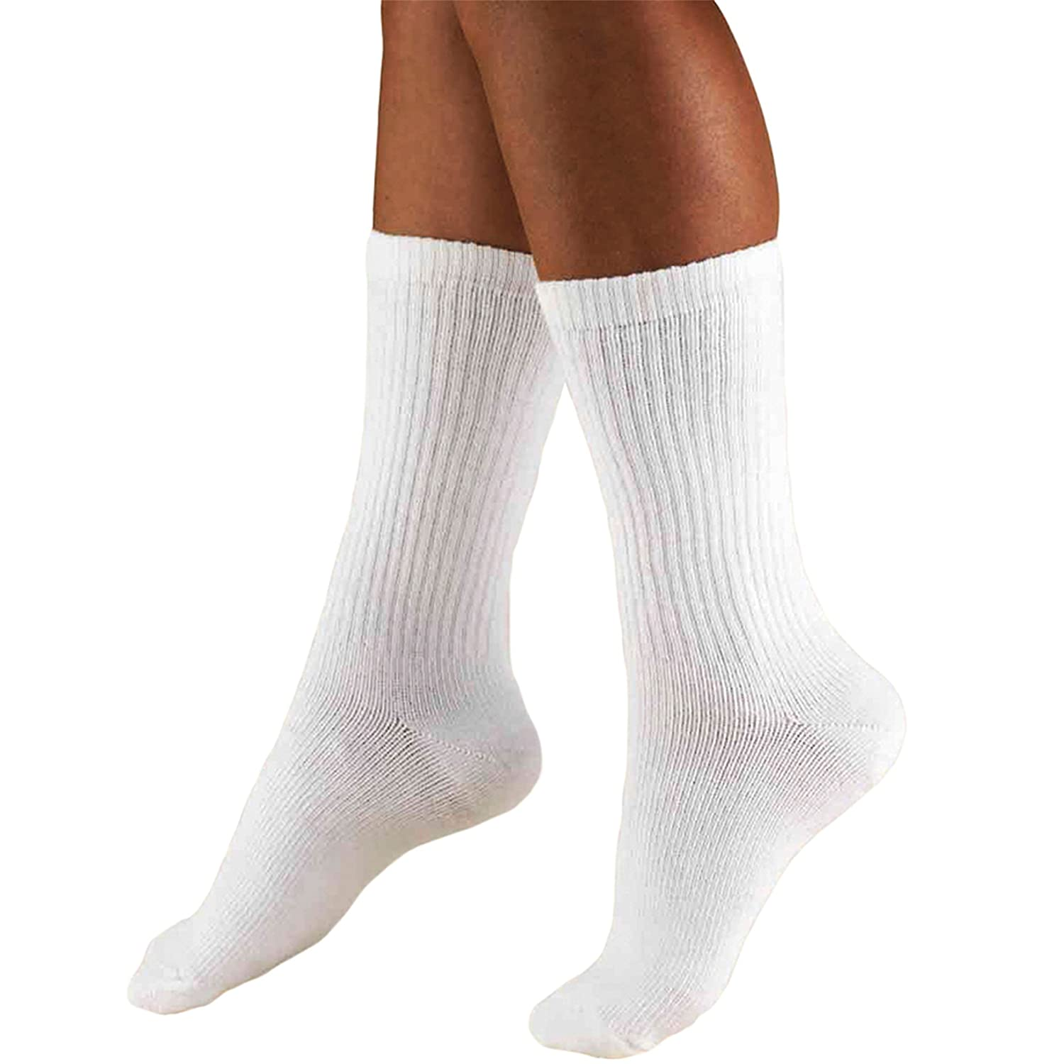 Amazon.com: Truform Mens 15-20 mmHg Cushioned Athletic Support Compression Socks, White, Large: Health & Personal Care