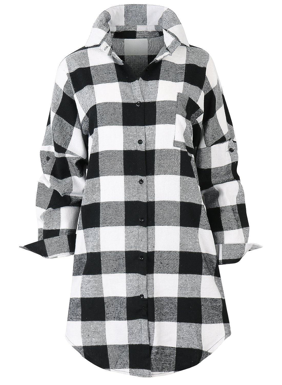246bae30 ililily Women Big Plaid Checkered Pattern Button Down Boyfriend Long Shirt  Top
