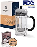 D&S Group French Press Coffee & Tea Maker with Additional Top Filter (34oz) + E-Book BONUS. Best Glass Press Pot with Stainless Steel, FDA Certified – for Making the Most Delicious Coffee or Tea