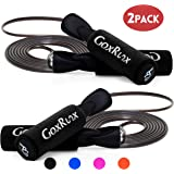 GoxRunx 2 Pack Jump Rope Steel Wire Adjustable Jump Ropes with Anti-Slip Handles for Workout Fitness Exercise,Skipping Rope Speed Rope Crossfit for Kids, Women, Men All Heights and Skill Levels
