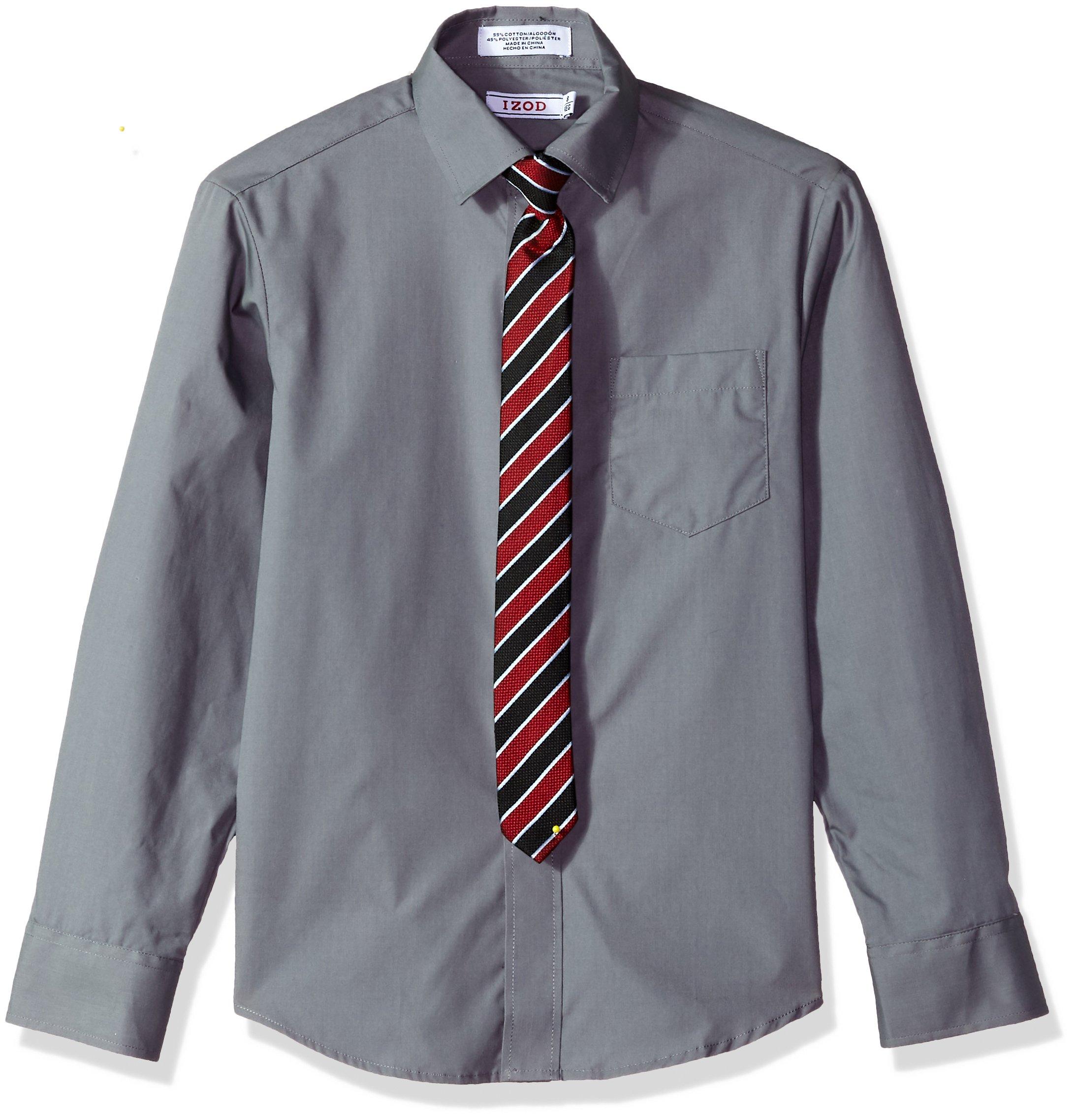 IZOD Big Boys' Dress Shirt and Tie Set, Silverware, 8