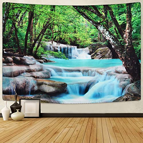 Sevenstars Tree Tapestry Waterfall Tapestry Forest Tapestry Wall Hanging, Nature Tapestries Stone River Tapestry for Room