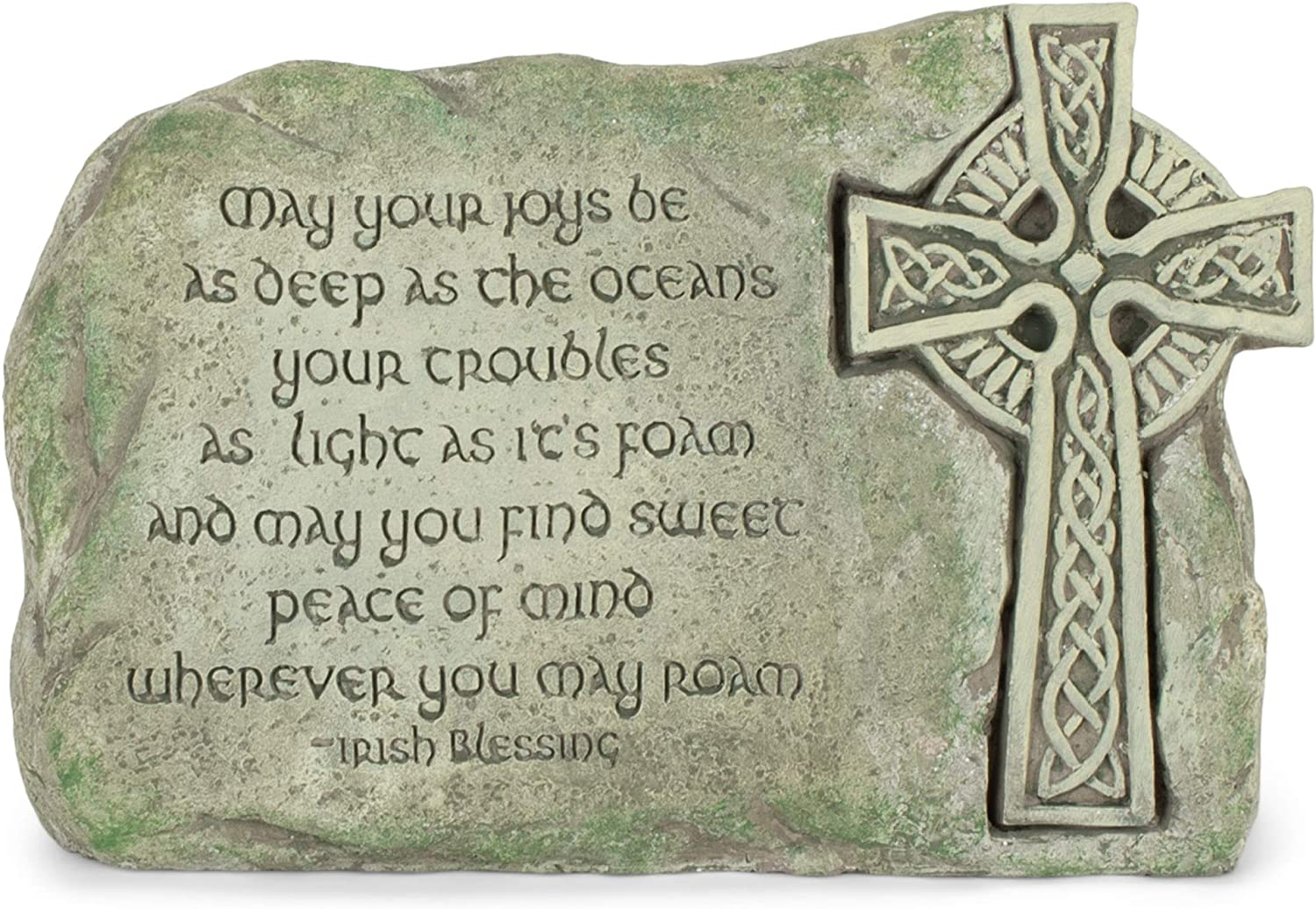 Transpac May Your Joys Be As Deep As Oceans Irish Blessing 10 x 6.5 Cement Decorative Outdoor Garden Stone