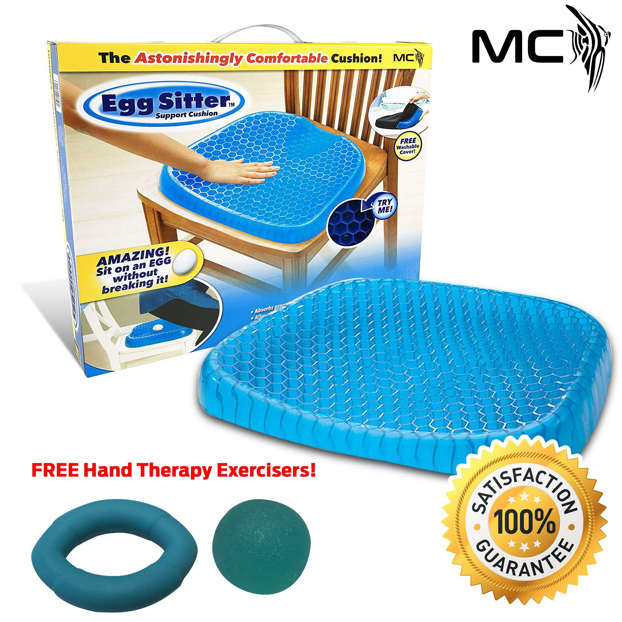 Egg Sitter Seat Cushion with Non-Slip Cover Breathable Most Comfortable Multipurpose High Quality Honeycomb Design Absorbs Pressure Points, 2 Free Gifts by Moral Chase