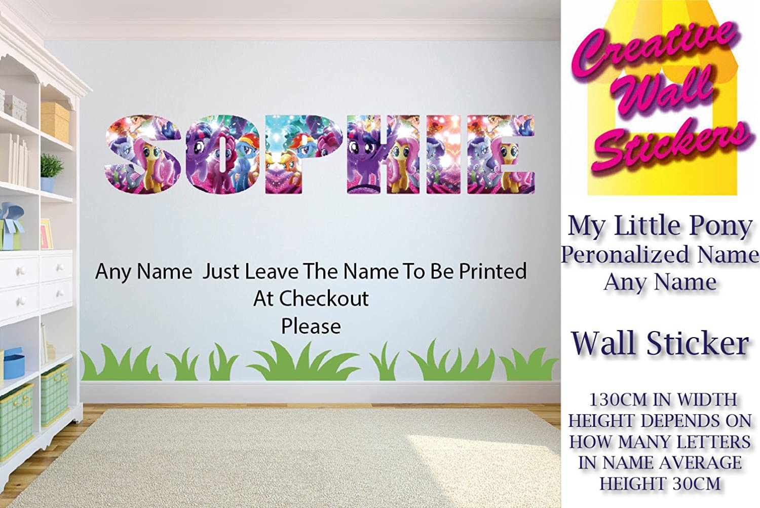 My Little Pony Wall Art Sticker Your Name Wall Sticker Childrens Bedroom Creative Wall Stickers