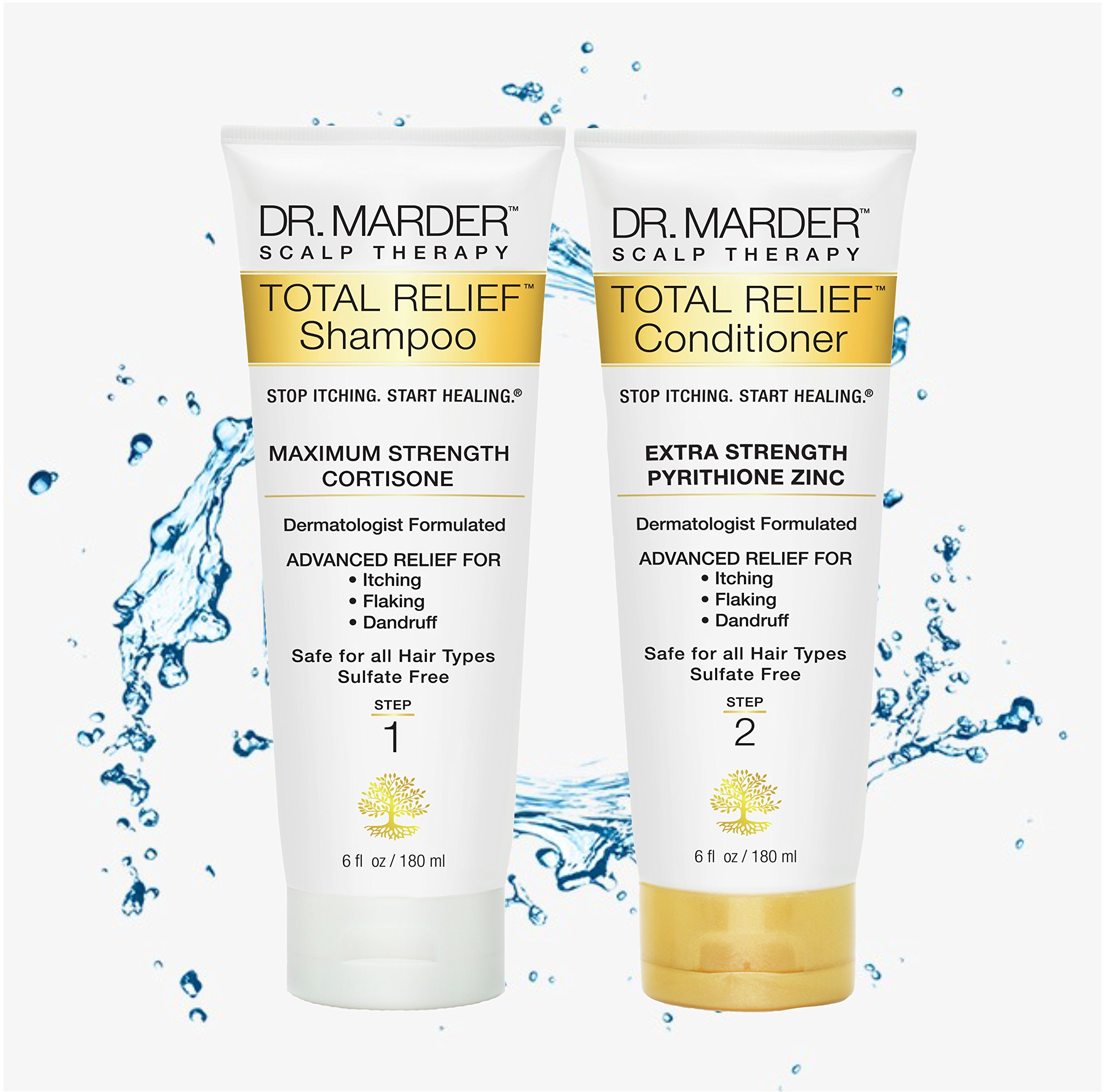 Dr. Marder A-D Anti-Dandruff Psoriasis Cortisone Shampoo & Conditioner Zinc Pyrithione 6 FL OZ (180 mL) Per Bottle - 2 Piece Set - Medicated Hair Loss Shampoo and Conditioner - Treat Psoriasis Flakes by STOP ITCHING. START HEALING.