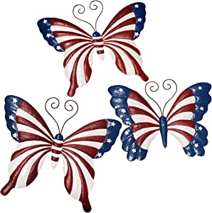 NA Metal Butterfly Wall Decor, Hanging Patriotic Decoration Art or Indoor and Outdoor, 3 Pack