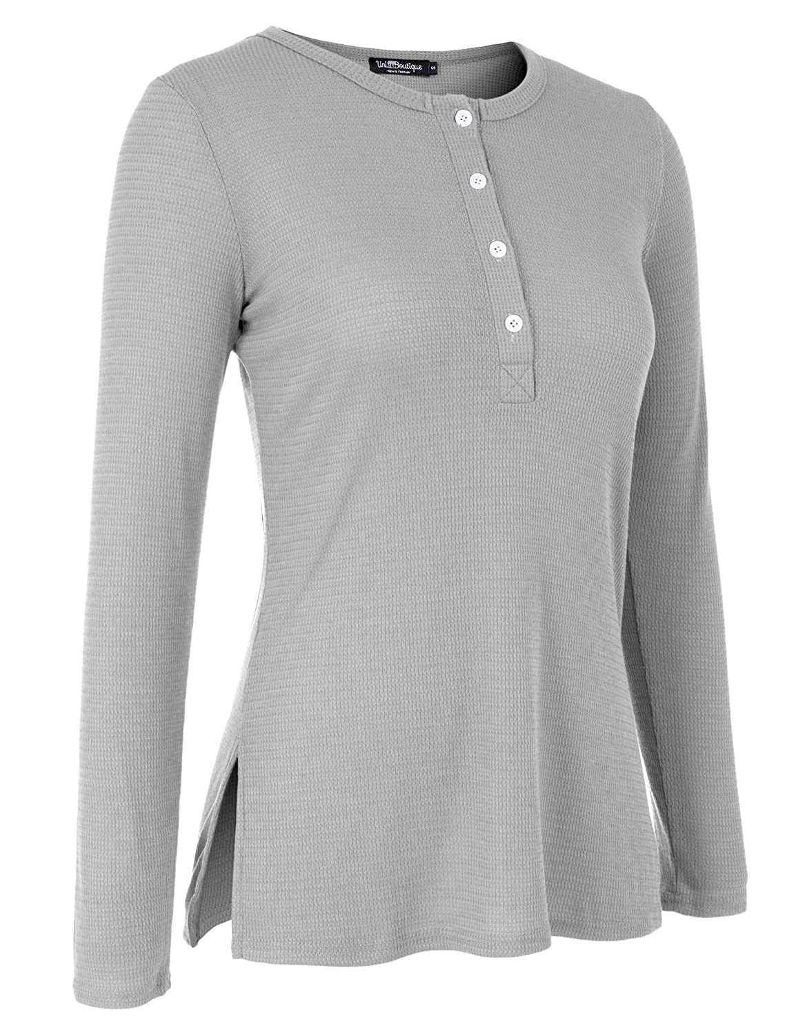 fac2c0b6 Uniboutique Womens Long Sleeve Henley Shirt Button Down Lightweight Knit Tunic  Blouse Side Slits Tops at Amazon Women's Clothing store: