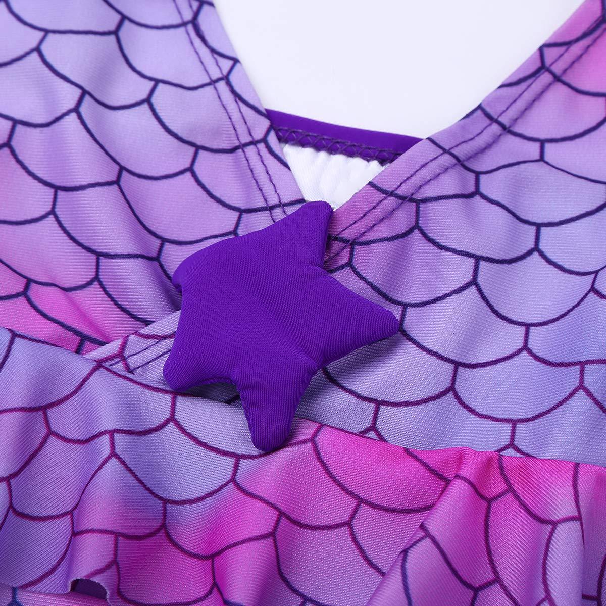 Freebily Sirena Costume da Bagno Bimba Due Pezzi Costume Sirenetta Bambina Mare Costume Intero Bambina Mare Abito da Bagno Anti UV UPF 50 3-14 Anni