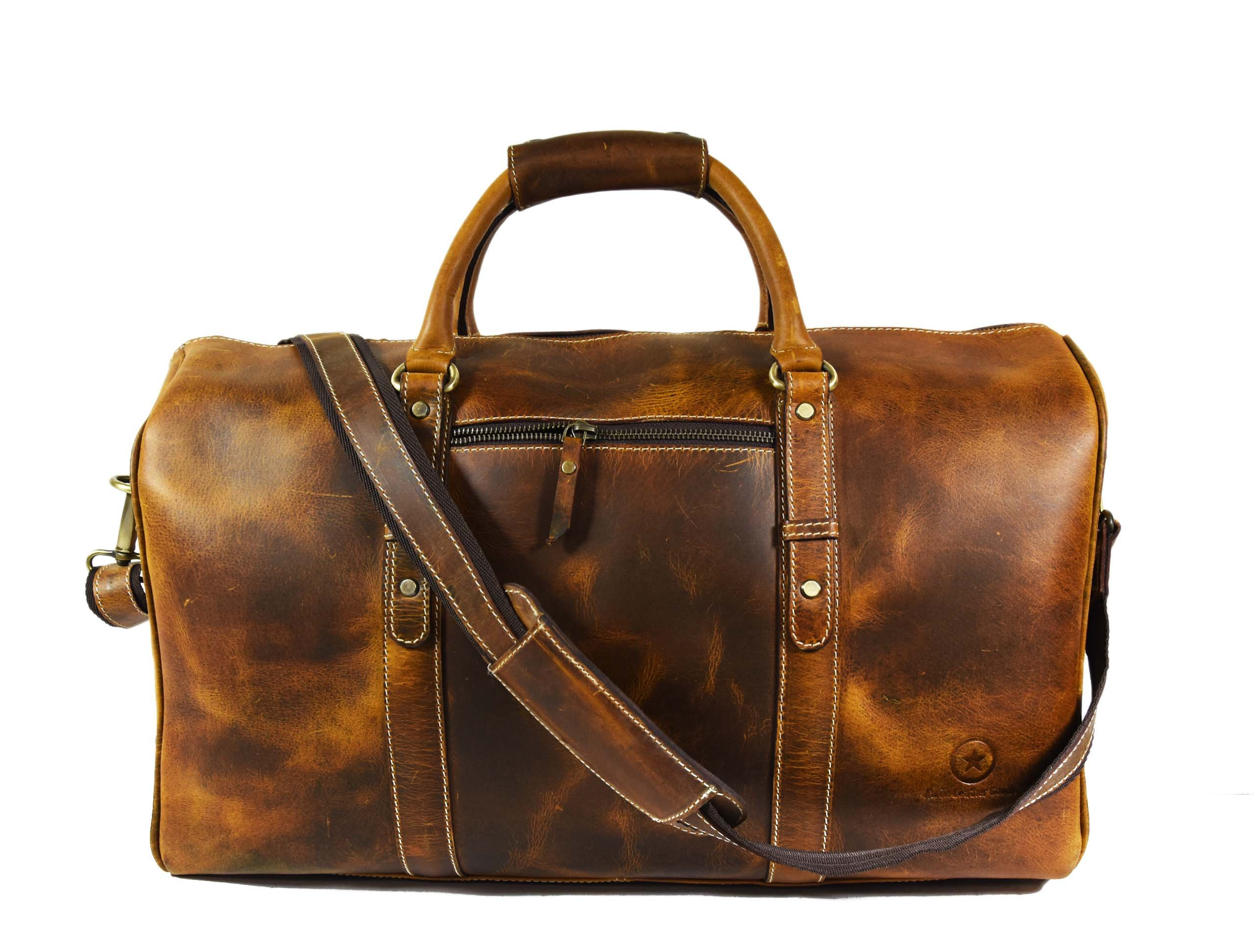 20 Inch Leather Travel Duffle Bag ,Gym Overnight Weekend Bag,By Aaron Leather (Brown)