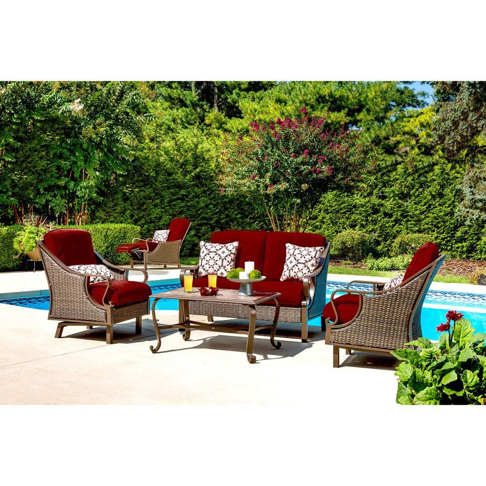 Amazon com hanover ventura4pc red ventura 4 piece patio set crimson red outdoor furniture garden outdoor