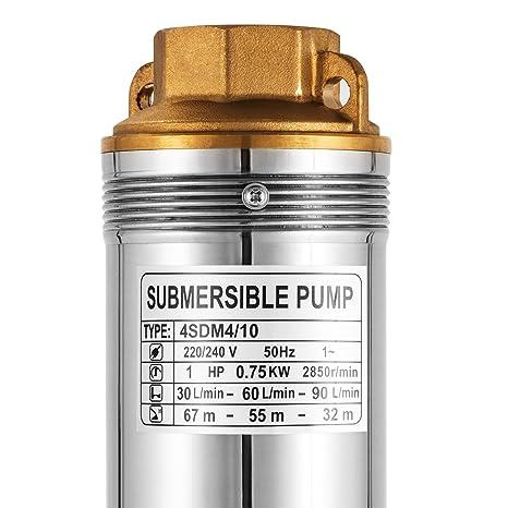 BuoQua 220V 0.75KW 1HP Pompa Sommersa Per Pozzi 750W Pompa di Profondit/à Fino a 67m 5400L//H Pompa sommersa Con 20m Cordone