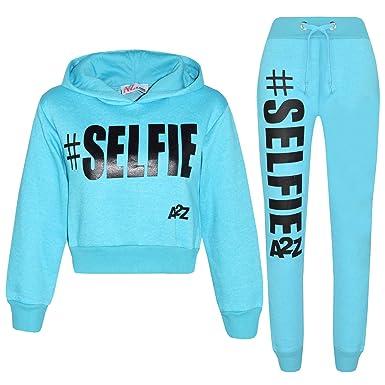 3b7e27517968 A2Z 4 Kids Kids Girls Tracksuit Designer #Selfie Hooded Crop Top & Bottom  Jog Suit