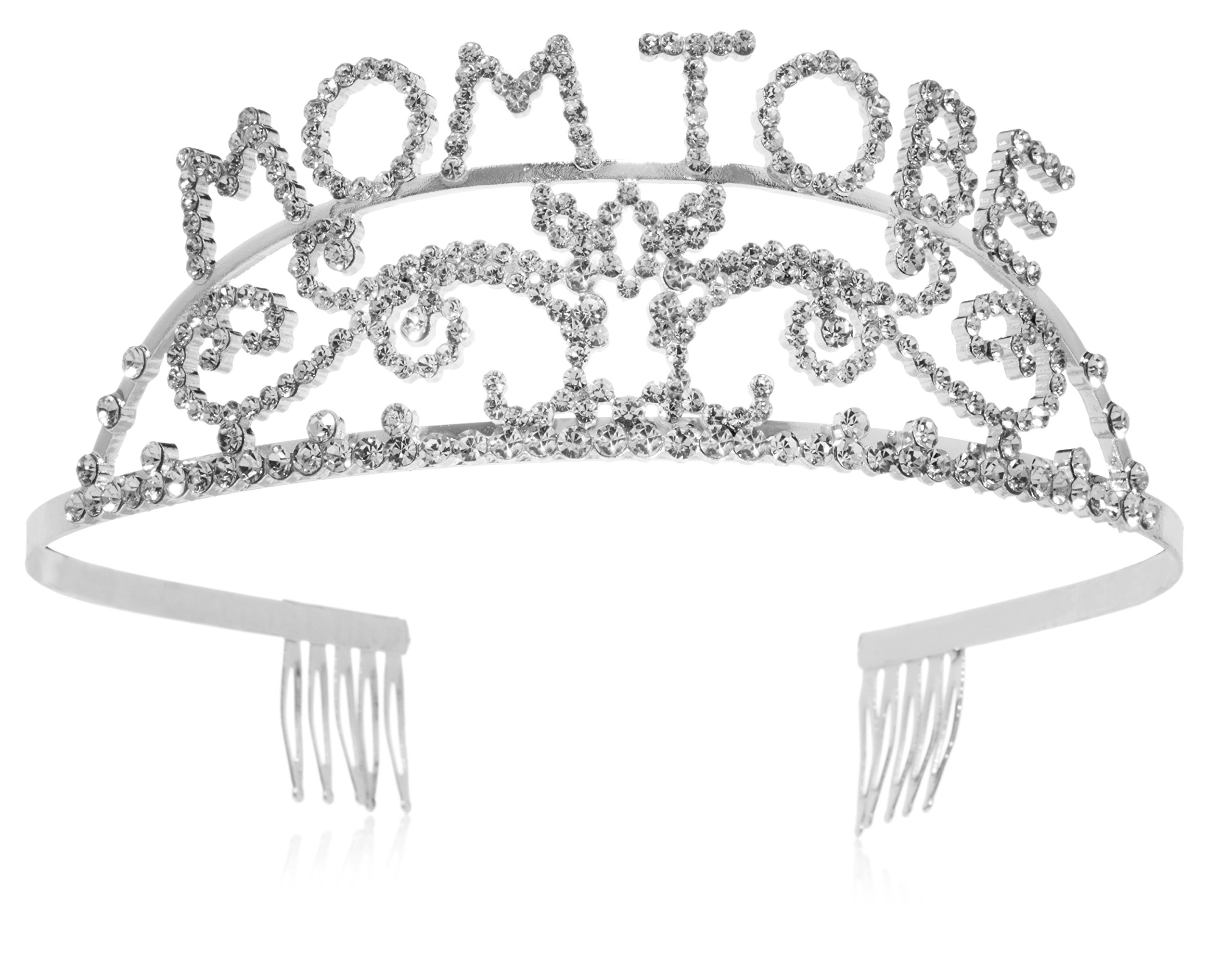 Elegant Rhinestone Mom to Be Tiara - Premium Quality Metal Baby Shower Tiara for the Mother to Be, Great Mother's Day Gift Idea for New Moms