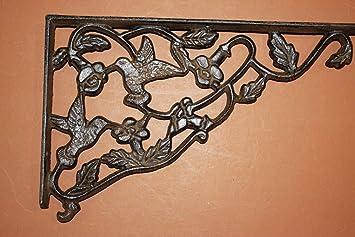"9/"",B-24 Hummingbird Shelf Brackets Cast Iron Country Cottage Shelf Brackets"