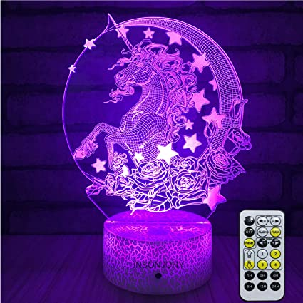 Insonjohy Unicorn Kids Night Lights Bedside Lamp 7 Colors Change Remote Control Timer 3d Night Light Kids Optical Illusion Lamps Kids Lamp As A Gift