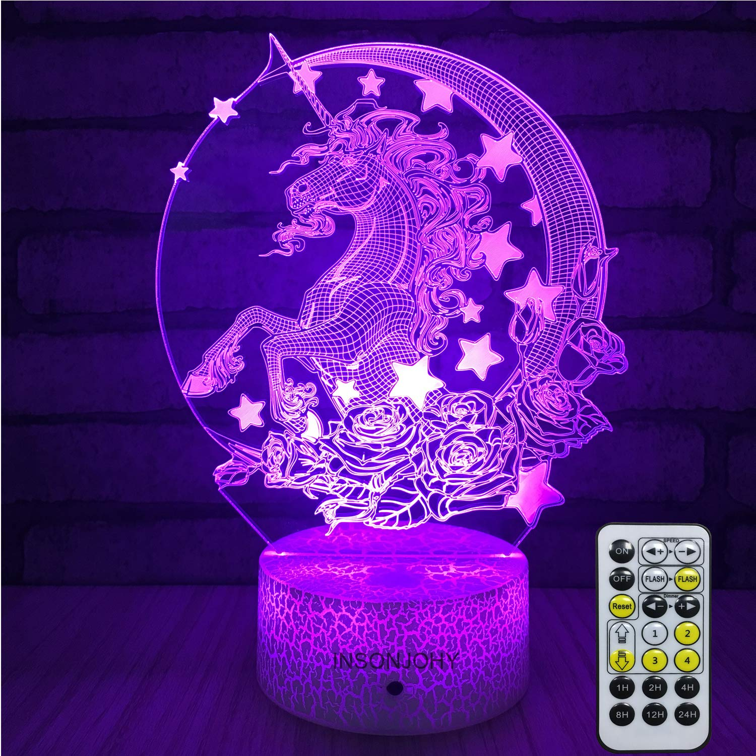 Amazon Com Night Light 16 Colors Changing 3d Optical